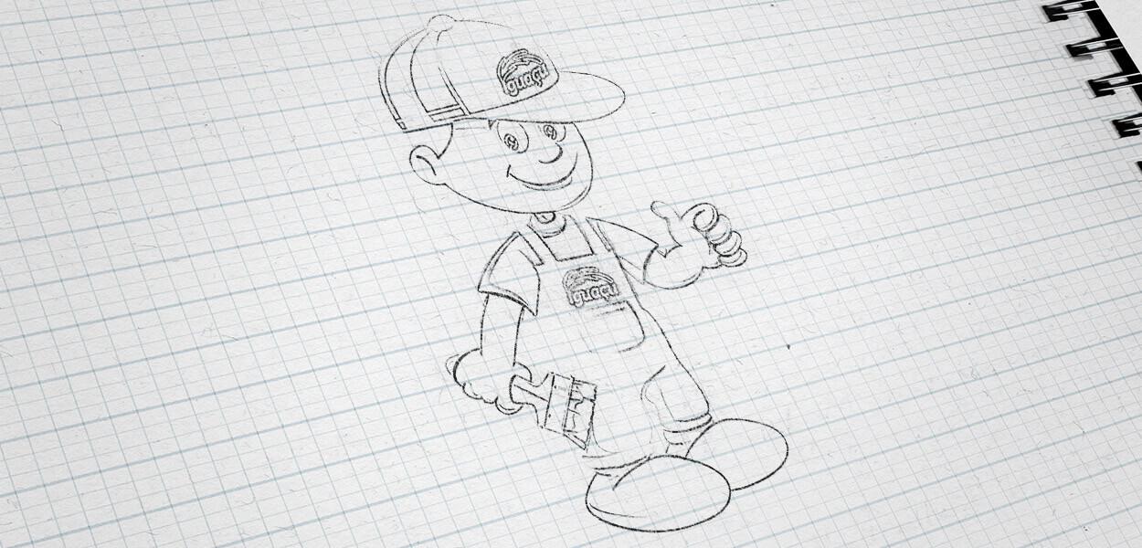 ilustração mascote tintas iguaçu